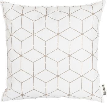 Outdoor kussen Cube met grafisch patroon in beige/wit, met vulling