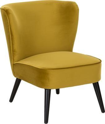 Fauteuilcocktail vintage en velours jaune Robine