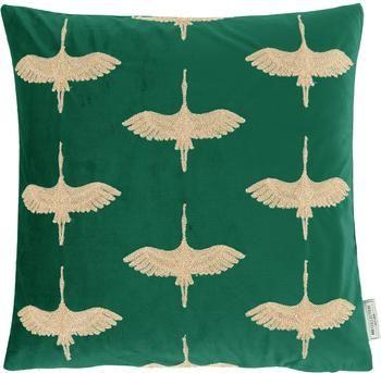 Coussin 45x45 velours turquoise doré Crane
