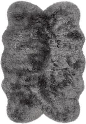 Flauschiger Kunstfell-Teppich Elmo in Grau, glatt