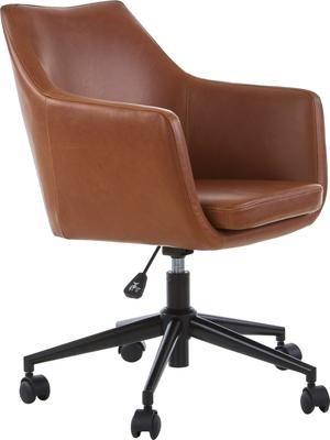 Chaise de bureau en cuir synthétique à hauteur ajustable Nora