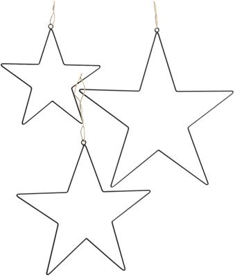 Ster hangers Elvira in zilverkleur, 3 stuks