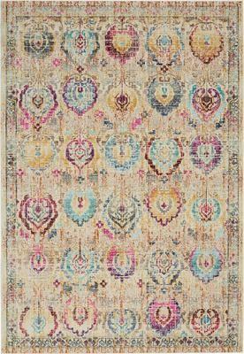 Tapis multicolore à poils ras Kashan Vintage