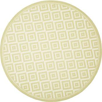Gemusterter runder In- & Outdoor-Teppich Miami in Gelb/Weiß