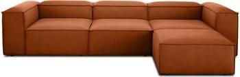 Canapé d'angle modulable terracotta Lennon