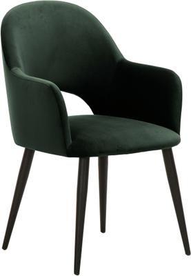 Chaise rembourrée velours vert Rachel