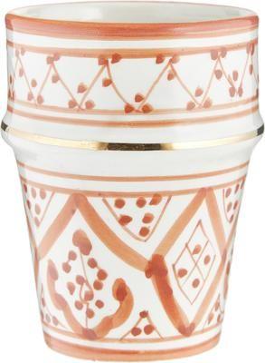 Handgemaakte Marokkaanse beker Beldi met goudkleurige rand