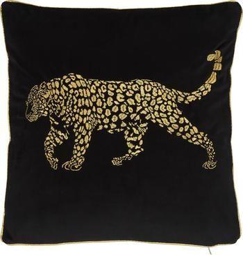 Coussin 45x45 velours noir brodé Majestic Leopard