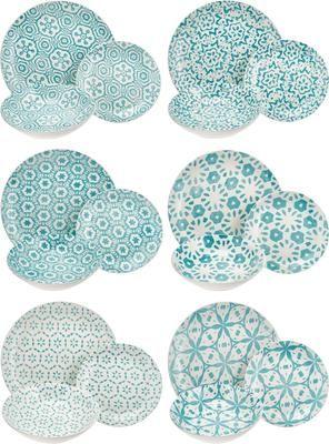 Serviesset met patroon Bodrum in turquoise/wit, 6 personen (18-delig)
