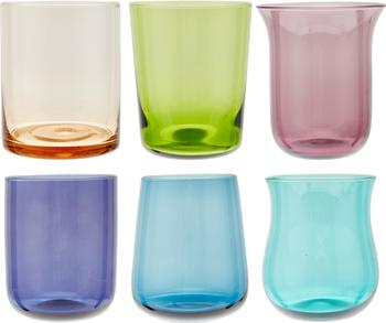 Vasos de colores de vidrio soplado artesanalmente Desiguale, 6uds.