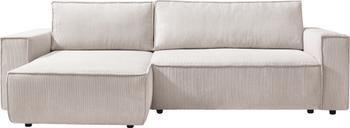Sofá cama rinconero de pana Nihad, con espacio de almacenamiento