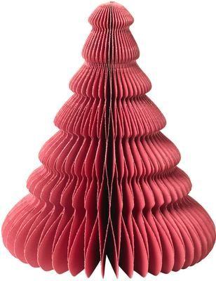 Plissé boompje Paper Pine in rood H 15 cm