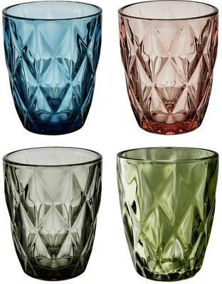 Set de vasos de colores con relieve Colorado, 4pzas.