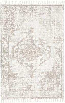 Tapis fin en coton beige vintage tissé main Jasmine