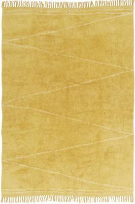 Ručně všívaný bavlněný koberec  s třásněmi Zigzag