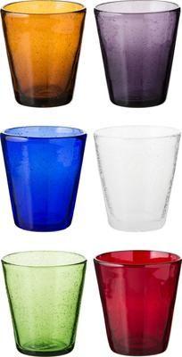 Vasos de colores de vidrio soplado artesanalmente Cancún, 6uds.