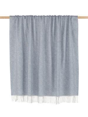 Plaid laine gris bleu à imprimé graphique Alison