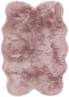 Flauschiger Kunstfell-Teppich Elmo in Rosa, glatt