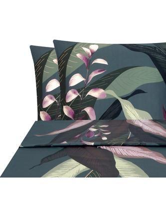 Set lenzuola in raso di cotone blu scuro Flora