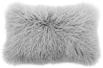Kussenhoes van langharige schapenvacht Ella in lichtgrijs, gekruld
