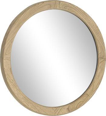 Kulaté nástěnné zrcadlo sdřevěným rámem Alum