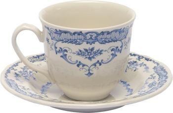Tasses à thé avec sous-tasses vintage bleu Rose, 2pièces