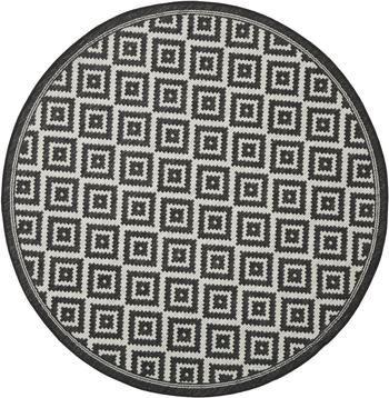 Gemusterter runder In- & Outdoor-Teppich Miami in Schwarz/Weiß