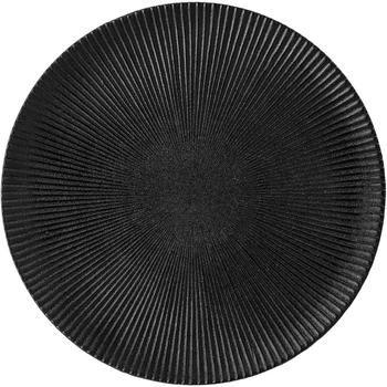 Piatto piano nero opaco con struttura rigata Neri