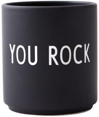 Mug design en porcelaine noir Favourite YOU ROCK
