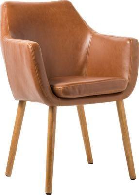 Chaise cuir synthétique pieds en bois Nora