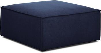 Poggiapiedi da divano in tessuto blu Lennon