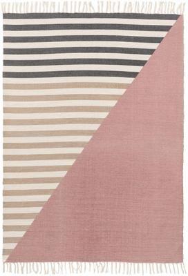 Gestreifter Colorblocking Teppich Oasis aus Wolle mit Fransen