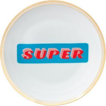 Porseleinen ontbijtbord Super met opschrift en goudkleurige rand