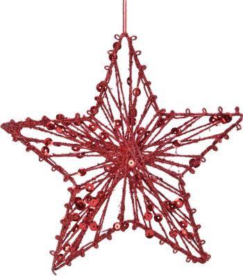 Decoratieve hangers Red Star Ø 15 cm, 2 stuks