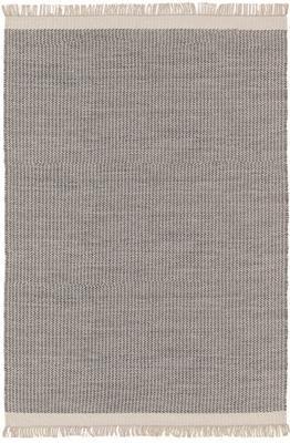 Handgewebter Wollteppich Kim in Grau/Creme, mit Fransen