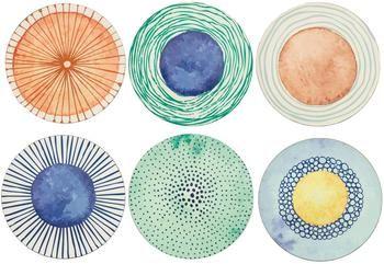 Set 6 sottopiatti con disegni diversi Marea