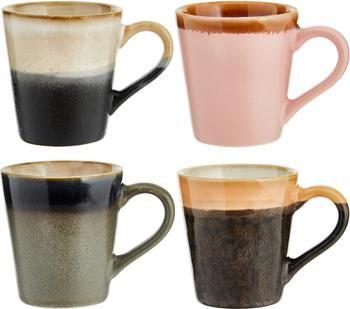 Set 4 tazzine caffè stile retrò fatte a mano 70's