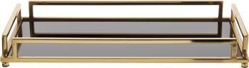 Vassoio decorativo nero e dorato Traika