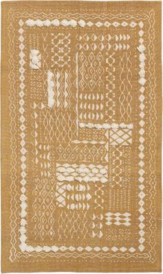 Boho Baumwollteppich Boa mit Hoch-Tief-Muster in Senfgelb/Weiß