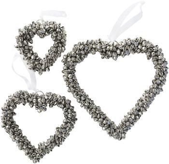 Decoratieve harten Halina in zilverkleur, 3 stuks
