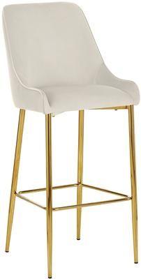 Zamatová barová stolička so zlatými nohami Ava