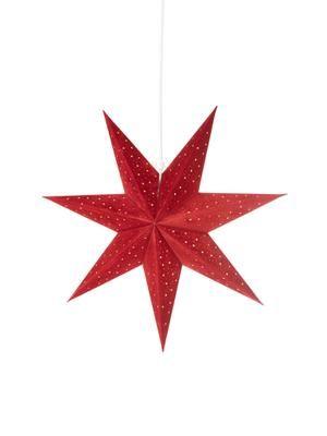 Fluwelen kerstster Orby in rood