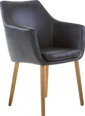 Krzesło z podłokietnikami ze sztucznej skóry Nora