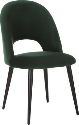 Chaise rembourrée en velours vert Rachel