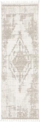 Handgewebter Baumwollläufer Jasmine in Beige/Taupe im Vintage-Style