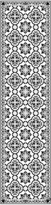 Vlakke vinyl vloermat Elena in zwart en wit, antislip