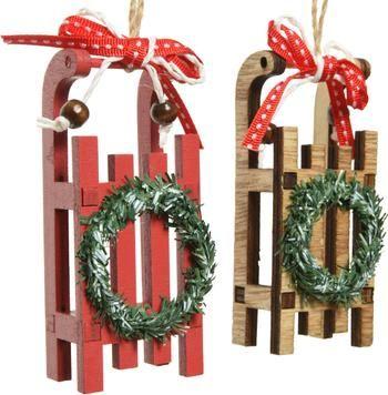 Decoratieve hangers Sledge H 10 cm, 2 stuks