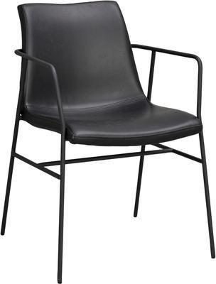 Chaise cuir synthétique noir Huntington, 2pièces