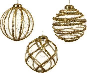 Kerstballen Circles Ø 8 cm, 3 stuks