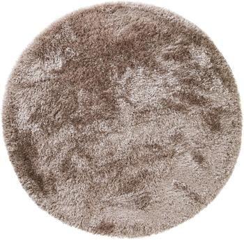 Glänzender Hochflor-Teppich Lea in Beige, rund